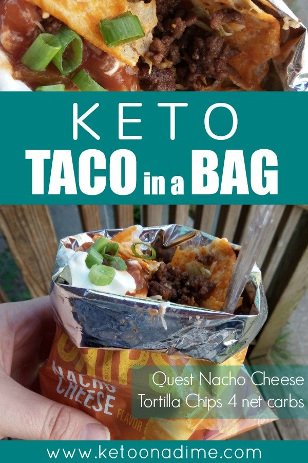 Keto taco in a bag. Keto walking taco. Keto doritos taco
