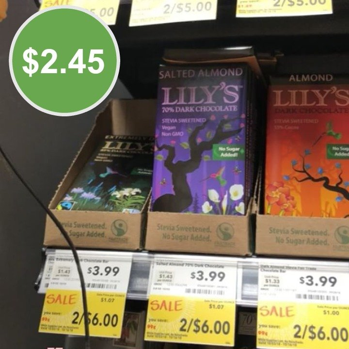 Lily's Chocolate as low as $2.45 at Whole Foods