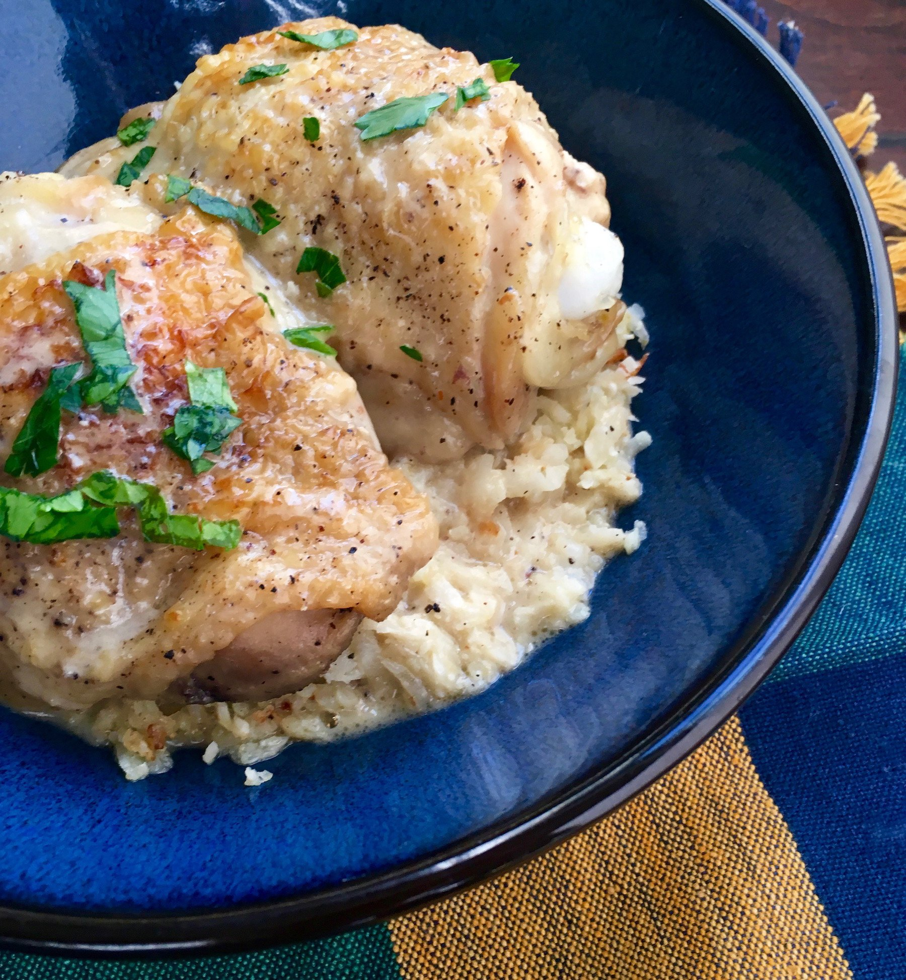 "Pickle-Braised Chicken Thighs with Cauliflower ""Rice"""
